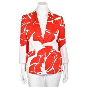 Escada Red White Poppy Print Stretch Cotton Jacket